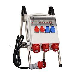 Kibernetik Distributeur de courant chantier 2x T13, 2x T25, 1x CEE32A, 2x CEE16A, avec support