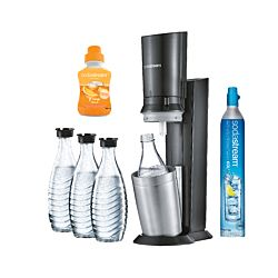 SodaStream Crystal Megapack black/metal incl. 3 carafe en verre + 1 pièce Orange-Mix