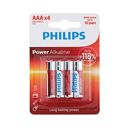 Philips Piles Power Alkaline LR03/AAA, 4 pièces