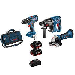 Bosch 3-Tool-Set GSR/GBH/GWS 18V 2 x 5.0 Ah, inkl. Tasche