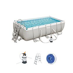 Bestway Pool Power Steel-Set inkl. Sandfilterpumpe & Leiter Ø 404 x 201 x 100 cm