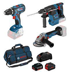 Bosch Set de 3 Tools GSR / GBH / GWS 18V 1 x 4.0 Ah, 1 x 8.0 Ah, incl. sac