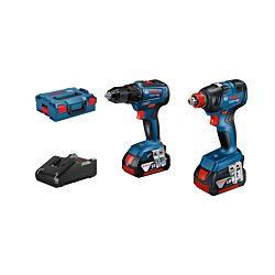 Bosch Set de 2 outils GDX/GSR 18V 2x 4.0 Ah, incl. coffre avec inserts