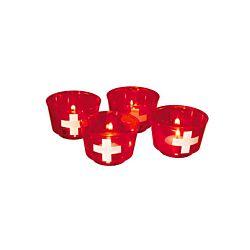 FS-STAR 4er-Kerzenset mit Schweizer Kreuz
