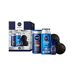 Nivea Set de sport déodorisant roll-on Men 150ml / Men crème douche 250ml / Men shampooing 250ml / balle de facia