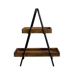 dameco Etagere aus Holz 2 Ablageflächen mit schwarzem Metall Gestell