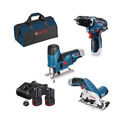 Bosch 3-Set d'outils GSR / GKS / GST incl. 2 x 3.0Ah, chargeur et sac