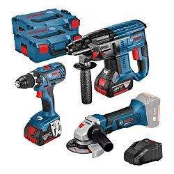 Bosch Set 3 pièces GSR 18V-28 GBH 18V-20 GWS18-125V-LI 2x 4.0 Ah 2x L-Boxx
