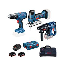 Bosch 3-Tool-Set GBH 18V-20 / GSB 18V-21 / GST18 / 2x 4.0 Ah Tasche