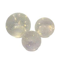 dameco LED Glaskugel mit Kunstschnee 3er Set