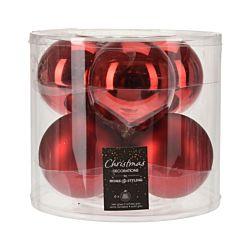 FS-STAR Boules de Noël rouge 8 cm set de 6 pcs