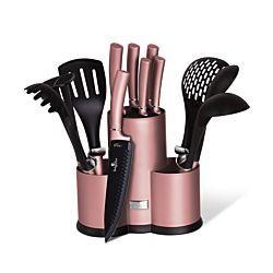 Berlinger Haus Set de couteaux 12 pièces et ustensiles de cuisine Set I Rose Collection