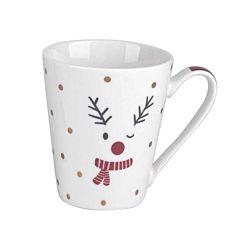 Dameco XMAS Porzellan Tassen mit Elchgesicht