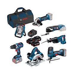 Bosch 7-Tool-Set Kit 18V GSR/GST/GKS/GSA/GWS/GOP/GLI, 3 x 5.0 Ah, incl. sac