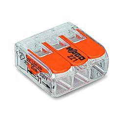 Wago Compact-Verbindungsklemme 221-413, für alle Leiterarten 3x 0.2-4.0 mm2 mit Hebel, 50 Stück