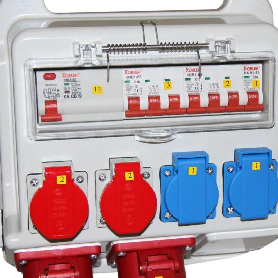 Ekström Distributeur de courant chantier 2x T13, 2x T25, 2x CEE16A