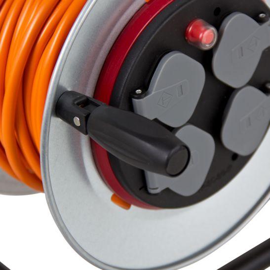 Ekström Enrouleur de câble 25 mètres, 3x 1.5 mm², 4x T13