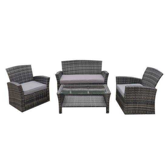 CONTINI Lounge rotin gris foncé / gris