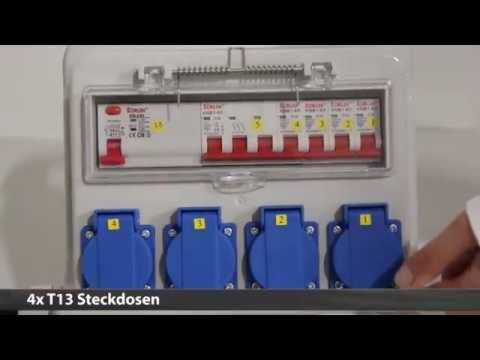 Ekström Baustromverteiler 2x T13, 2x T25, 1x CEE32A, 2x CEE16A